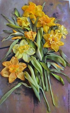 "*RIBBON ART ~ Pictures of flowers handmade.  Fair Masters - handmade.  Buy now embroidered ribbons ""Golden Daffodils"".  Handmade.  Yellow daffodils"