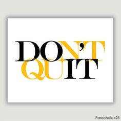 DO IT, typographic print, inspiration print, graduation gift, office print, gym print, horizontal print, yellow and black on Etsy, $12.50