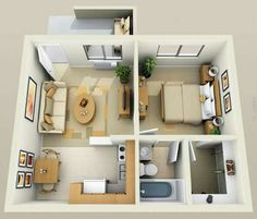 14 Small Apartment Ideas for Comfortable Living in Small Space # design . Studio Apartment Floor Plans, Studio Apartment Layout, Apartment Design, Apartment Ideas, Studio Floor Plans, Small Apartment Plans, Small Apartment Layout, Studio Layout, Basement Apartment
