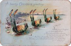 """""""A heart Christmas greeting: Four jovial froggies / a skating would go; / They asked their mamma, / but she'd sternly said, 'No!' / And they all came to grief in a beautiful row. / There's a sweet Christmas moral for one not too slow. / Just so!"""" (via Nova Scotia Archives/Flickr)"""
