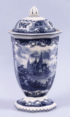 Blue Toile Jar Victorian Castle Porcelain