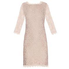 Diane Von Furstenberg Zarita dress (13,915 INR) ❤ liked on Polyvore featuring dresses, see-through dresses, nude dress, pink dress, nude lace dress and pink lace dress