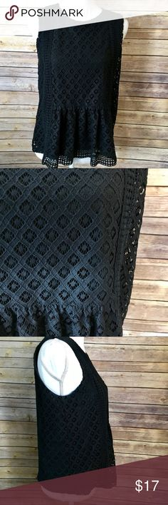 Banana Republic Black Sleeveless Lace Top Excellent condition!  Black lace top with key hole button back.  T1a Banana Republic Tops Blouses