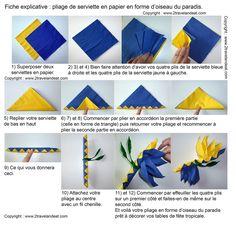 Pliage de serviette de table en forme d'oiseau du paradis, réaliser une fleur oiseau du paradis avec une serviette en papier , l'art du pliage de serviettes de table, decoration de table, recettes de cuisine et traditions en Europe. Information et Tourisme Européen.