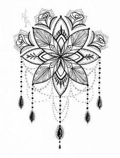 Mandala Illustration - Tattoo Art - Pen and Ink Drawing - Giclee Print - Tattoos Pictures Neck Tattoos, Henna Tattoos, Feather Tattoos, Rose Tattoos, Flower Tattoos, Sleeve Tattoos, Tattoo Ink, Anklet Tattoos, Cloud Tattoos