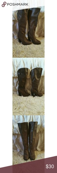 Charlotte Russe tan boots Knee high boots. These are a beautiful taupe brown / tan color with a thick heel. The zipper begins on the side and curves its way to the back as it extends to the top. Smooth design that shapes to your leg. Charlotte Russe Shoes Heeled Boots