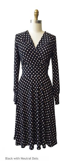 this v neck, long sleeve dress features a collar. the peggy also has full, flared knee length skirt and a waistband. machine wash cool, hang dry, no ironing ever needed! the peggy is an american made dress crafted with love in Brooklyn, NY