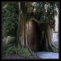 The back door at St. Edward's Church in Stow-on-the-Wold, England.  Widely believed to be Tolkien's inspiration for the door to Moria.