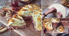Pan de hojaldre relleno con camembert y dulce de frambuesa