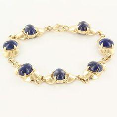 Vintage 14 Karat Yellow Gold Lapis Lazuli Bracelet Fine Estate Jewelry Estate  $695