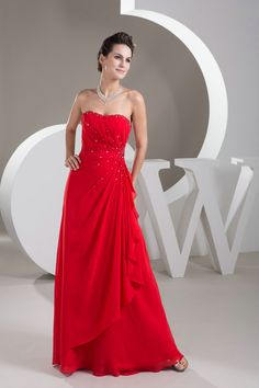 Latest Style Sweetheart A Line Chiffon Red Long Sequined Prom Dress £111.89
