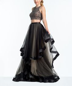 Take a look at this Terani Couture Black & Nude Lace Crop Top & Maxi Skirt today!
