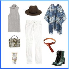 Style white pants with lace-up boots + a wide brim hat for a cool fall look.