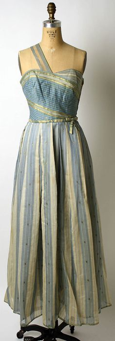 Cotton evening dress with metallic-thread embroidery, designed by Mainbocher, American, 1950's.