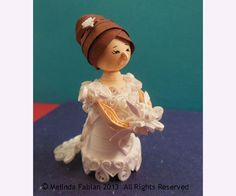 3D Miniature Bride Doll Paper Quilled Christmas Tree Ornament or Wedding Decoration or Gift for Bride or Doll Collector