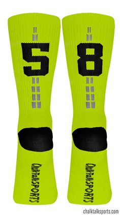 These Neon Yellow Team Number Crew socks are a great way to rep your jersey number!