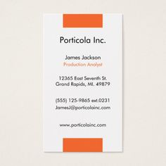 Orange Block Plain Business Cards