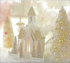 Shabby Christmas Chic Lit Putz Village Home & Bottle Brush Trees Vintage White New