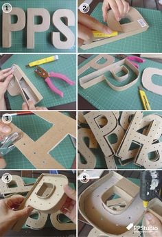 Light-up Marquee Cardboard Letters Tutorial Cardboard Letters, Diy Letters, Diy Cardboard, Decoupage Letters, Craft Projects, Projects To Try, Diy And Crafts, Paper Crafts, Deco Floral