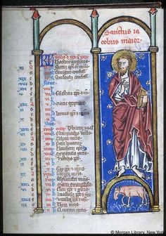 Psalter-hours (MS M.94). Cologne, Germany, between 1250 and 1274.  MS M.94  fol. 2v; Apostle James Major