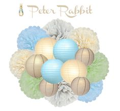 Create the look of a professional party planner with the click of a mouse!! This gorgeous combination of coordinating paper lanterns and handmade tissue poms is designed to compliment your Peter Rabbit inspired birthday party or baby shower. Bundle this blue, green, cream and gray themed party kit together to make a spectacular hanging chandelier or simply hang pieces throughout your room to create a splash of color. Let us help you make decorating for your next party easy. This kit is…