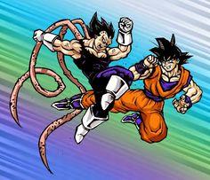 DRAGON BALL Z PLUS: Ilustración de Goku versus Vegeta [Luchando] por EKN | EKN: Mis Dibujos de Anime Manga