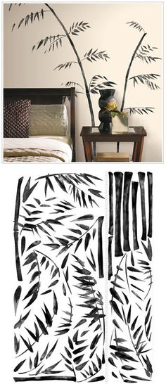 Painted Bamboo Peel and Stick Wall Decals - Wall Sticker Outlet