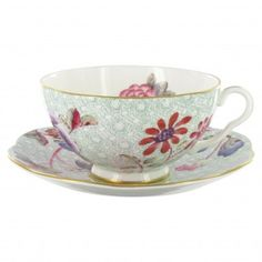 Wedgwood Harlequin Collection - Cuckoo - Teacup and Saucer - Green