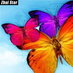 "Full Square Diamond 5D DIY Diamond Painting ""Colorful butterfly"" Embroidery Cross Stitch Rhinestone Mosaic Painting Home Decor -in Diamond Painting Cross Stitch from Home & Garden on Aliexpress.com 