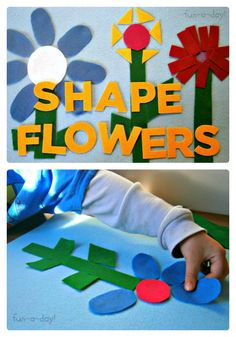 Felt Shape Flowers Activity from Fun-A-Day! at B-InspiredMama.com - #kids #learning #preschool