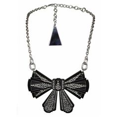 """TARINA TARANTINO Magic Mirror """"Debutante"""" Necklace (3,060 MXN) ❤ liked on Polyvore featuring jewelry, necklaces, accessories, bows, acrylic pendants, tarina tarantino necklace, bow necklaces, swarovski crystal necklace and art deco pendant necklace"""