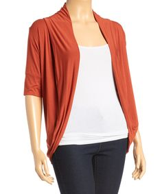 Another great find on #zulily! Burnt Orange Short-Sleeve Open Cardigan - Plus by Libian #zulilyfinds