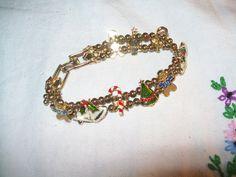 Avon vintage christmas bracelet, enamel charm slide bracelet, vintage bracelet, slide bracelet by vintagebyrudi on Etsy