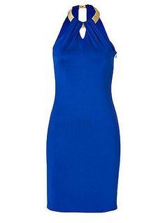 Ralph Lauren Black Royal Blue Jersey Tarian Sleeveless Dress  $1,564  A metallic gold lambskin wrapped collar lends a regal look to this royal blue sleeveless dress