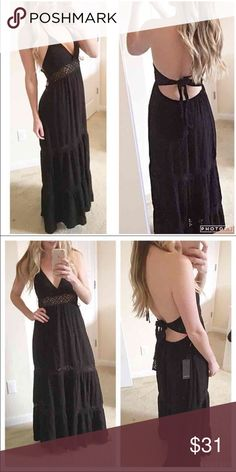 *NWT* Backless Maxi Dress *NWT* Backless Maxi Dress. Black maxi dress with crochet accents. Halter top tie, with additional tie  around the back. Size Medium Forever 21 Dresses Maxi