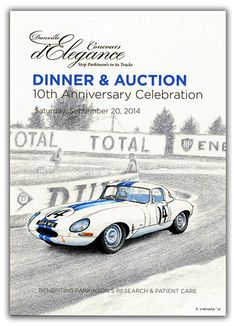 Danville Concours d'Élégance 2014 Dinner & Auction Invite My art was featured on the cover of the invite, and I donated the original art for the auction. The events supports Parkinson's Research and TEAMFOX.