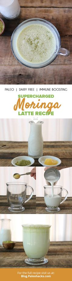Supercharged Moringa Latte - Food and Drink Organic Coconut Milk, Canned Coconut Milk, Paleo Dairy, Dairy Free, How To Make Tea, Food To Make, Yummy Drinks, Healthy Drinks, Paleo Recipes