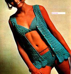 Vintage Crochet Pattern PDF Bikini Bathing Suit and Cover Up SZ Sm M Lg