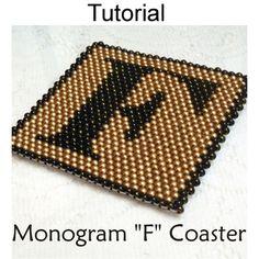 Peyote Monogram F Coaster PDF Beading Tutorial