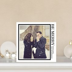 Stark Square - #Holiday Photo Cards in chic black and white design.