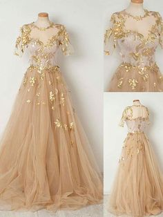 Sparkly Prom Dress A-line Scoop Short Sleeve Gold Long Prom Dresses/Evening Dress|Amyprom – AmyProm