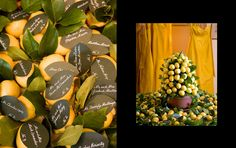 Escort Card, Wedding, Party, Paper - Lemon tree escort display with guests names and table numbers written onto green leaf-shaped paper