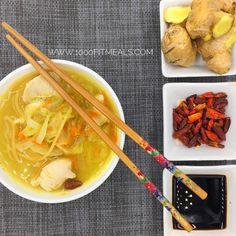 1000 Fit Meals: RECETA FITNESS ASIÁTICA: Sopa de verduras y pollo al jengibre