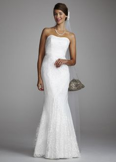 WANTED: GALINA Strapless Lace Gown with Ribbon Detail Style WG3381 :  wedding dress Dbi S12 Wg3381 Front.jpg.fpx