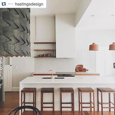 Imagine waking up to this every morning. And that delicious Caesarstone Fresh Concrete. Designed by and built by Kitchen Interior, New Kitchen, Design Kitchen, Kitchen Ideas, Beautiful Kitchen Designs, Beautiful Kitchens, Fresh Concrete Caesarstone, Hanging Shelves, Open Shelves