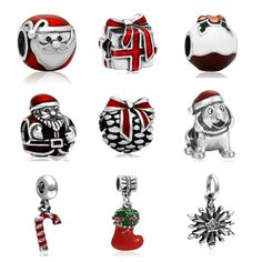 Eccosa Silver Plated Enamel Santa Christmas Gift Box Charm Bead Fit European Pandora Charms Bracelet Diy Jewelry Making ** Offer can be found by clicking the image