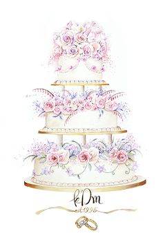 it's a recreation of this classic 3 tier wedding cake to celebrate a couple's 20 years wedding anniversary. I've added a little bit of artistic imagination on this cake, a mix of modern and classic. My client also requested to add their wedding rings below the cake. A gift of art, I think it is an alternative way to mark your special day:)