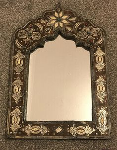 Moroccan/Middle Eastern Style Wall Mirror 54.5cm X 36.50cm | eBay Moroccan Mirror, Garden Mirrors, Silver Wall Mirror, Art Deco Mirror, Rustic White, Jute Rug, Glass Film, The Middle, Wool Area Rugs
