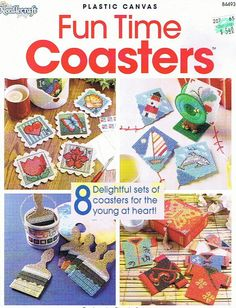 Plastic Canvas Cat Patterns Free | FUN TIME COASTERS Plastic Canvas Pattern Book by M2Hawk on Etsy