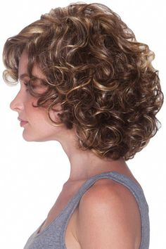 DISCONTINUED ITEM Malibu is a short shoulder length wig with a clean outline of soft curls. Malibu's look shows off … Curly Hair With Bangs, Haircuts For Curly Hair, Curly Hair Cuts, Short Curly Hair, Short Bob Hairstyles, Hairstyles With Bangs, Short Hair Cuts, Curly Hair Styles, Bob Haircuts